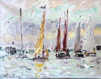 ANDRE HAMBOURG (1909-1999) Les voiliers à...