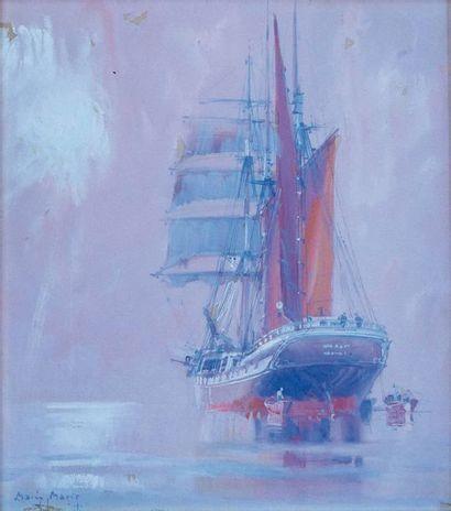 MARIN-MARIE (1901-1987) Voilier en mer Aquarelle...