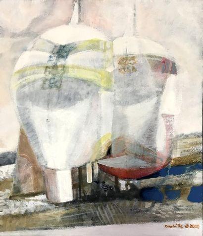 PAUL AMBILLE (1930-2010) Deux bateaux Huile...