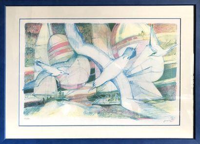 PAUL AMBILLE (1930-2010) Les mouettes Gravure...