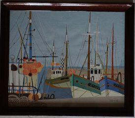 GEORGES DAMIN (Né en 1942) Port de St Tropez...