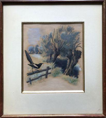 PIERRE GANDON (1899-1990) La pie et La basse-cour...