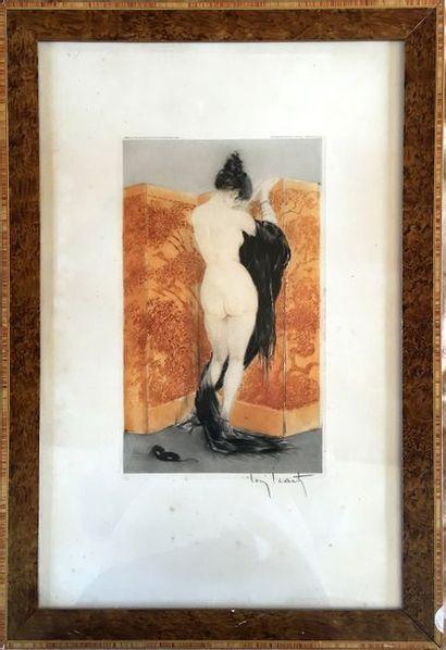 LOUIS ICART (1888-1950) Nus au paravent Deux...