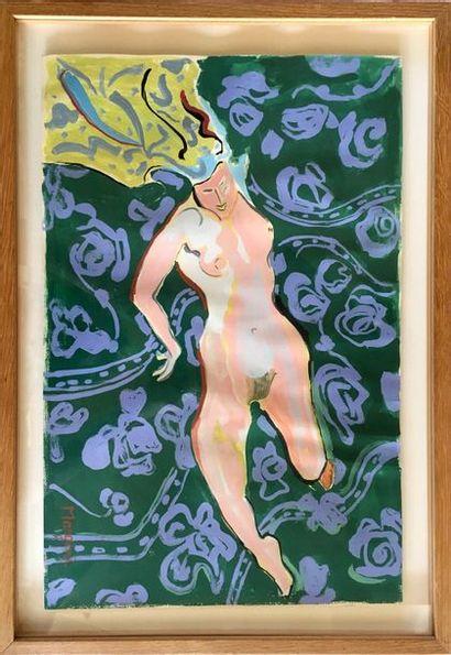 DENISE MARGONI (1911-1987) Nu allongé Gouache...