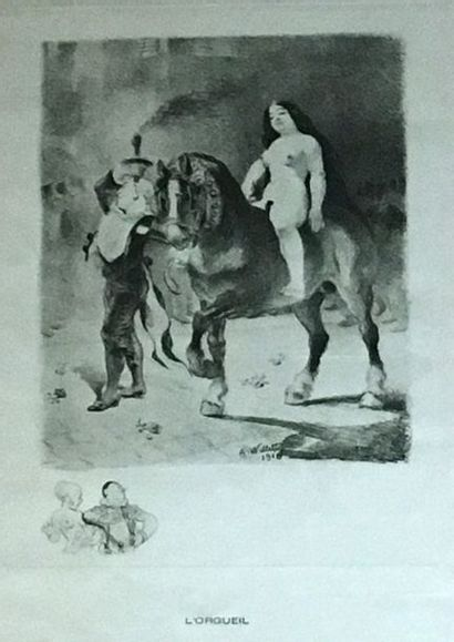 PHILIPPE DEGRAVE ( ?) Couples Lot de quatre gravures 18 x 13 cm - ECOLE MODERNE...