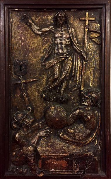 PORTE DE TABERNACLE en bois sculpté en bas-relief,...