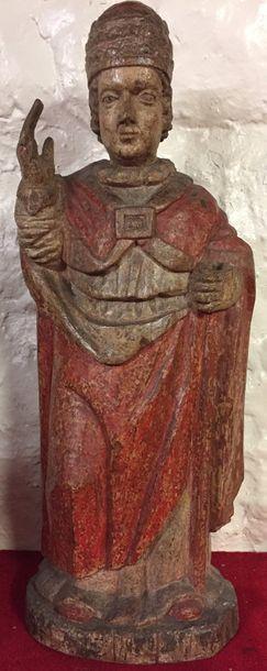 SAINT PAPE en bois sculpté et polychromé,...