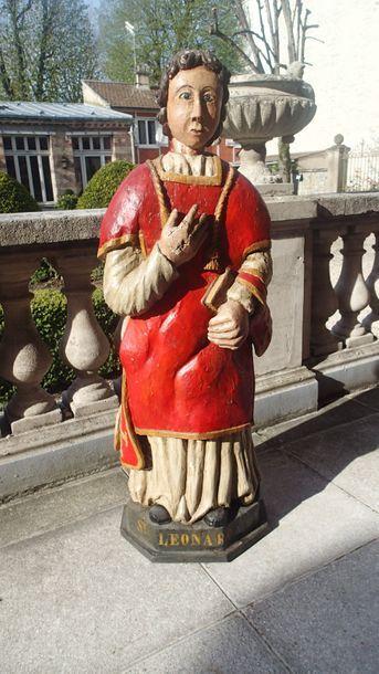 SAINT LEONARD en bois sculpté et polychromé....