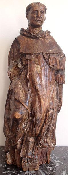 SCULPTURE en bois représentant un moine....
