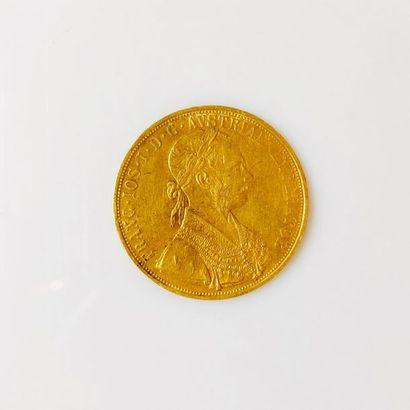 PIÈCE en or jaune de 4 Ducats Autrichiens...
