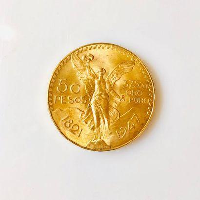 PIÈCE en or de 50 pesos Mexicains Centenario...