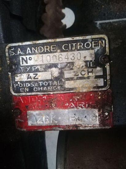 1958 Citroën 2CV P.O Numéro de série 1006430  Rarissime version export Outre-Mer...