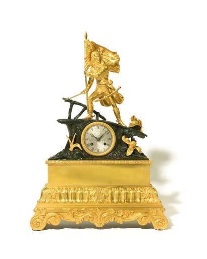 « Bonaparte au Pont d'Arcole » Grande pendule en bronze patiné et doré ornée d'un...