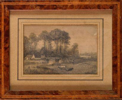 Michel BOUQUET (1807-1890) Scène paysanne...