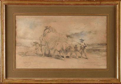 Rosa BONHEUR (1822-1899) Etude pour La Fenaison en Auvergne Crayon noir et aquarelle...