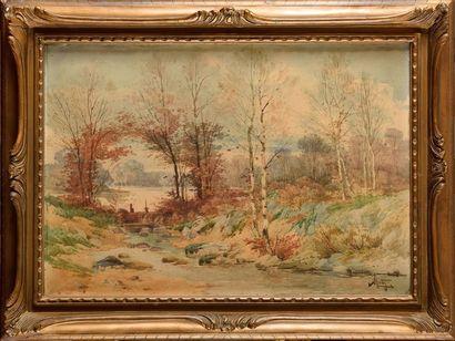 Hippolyte Jean Adam GIDE (1852-1921) Forêt...