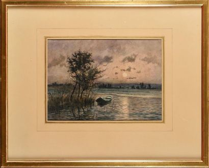 Georges GASSIES (1829-1919) Paysage de barque...