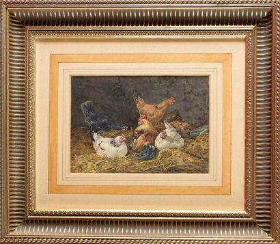 Charles JACQUES, fils (1879-1959) Les poules...