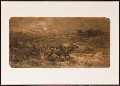 Frédéric JACQUE (1859-1931) Troupeau de vaches...