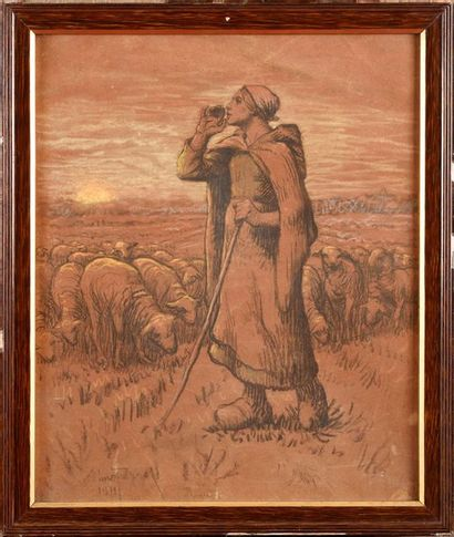 Aimé PERRET (1847-1927) La bergère, 1911...