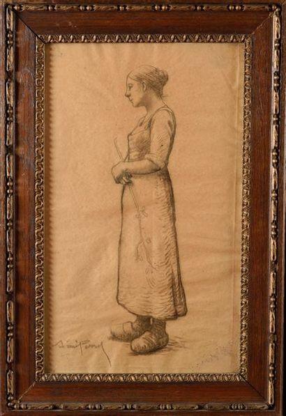 Aimé PERRET (1847-1927) Jeune Bergère Crayon...