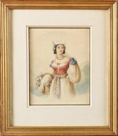 Hippolyte GARNERAY (1787-1858) Jeune femme...