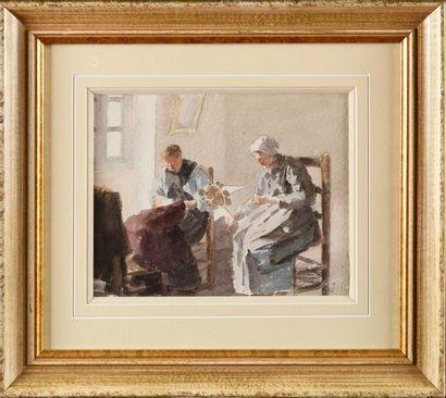 Louis Joseph ANTHONISSEN (1849-1913) La couture...
