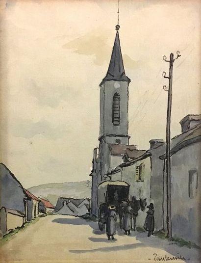 Paul Émile PISSARRO (1884-1972) Clocher d'église...