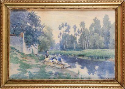 Joseph-Clément-Maxime JEANNOT (1855-?) Lavandières...