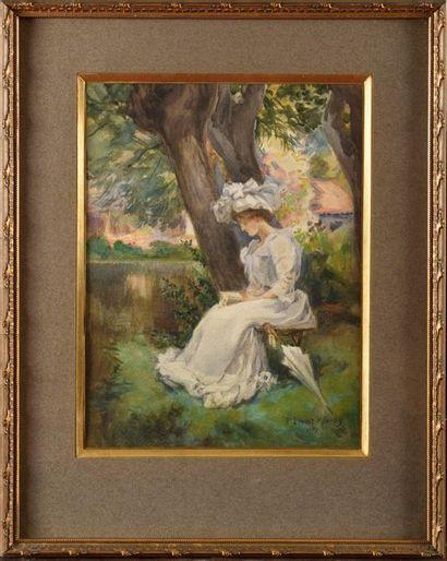 Paul LECUIT-MONROY (1858-?) Jeune femme lisant...