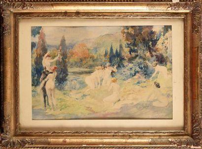 Antoine CALBET (1860-1944) Les Naïades Aquarelle...