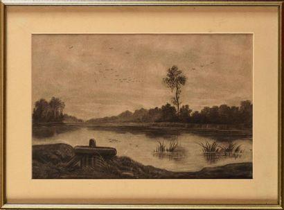 Auguste ALLONGÉ (1833-1898) Bord de rivière...