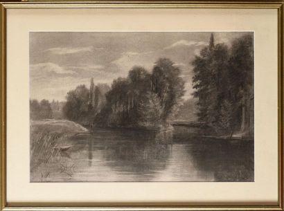 Auguste ALLONGÉ (1833-1898), attribué à L'étang...