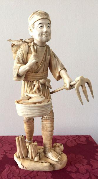 JAPON-ECOLE DE KYOTO Important Sujet en ivoire...