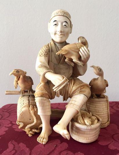 JAPON-ECOLE DE KYOTO Statuette en ivoire...