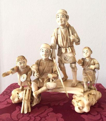 JAPON-ECOLE DE KYOTO Groupe de quatre personnages...