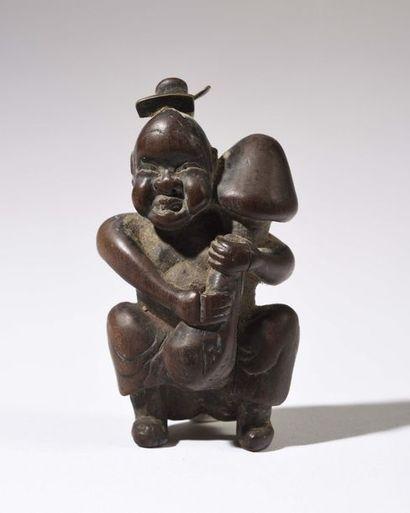 JAPON : Netsuké érotique en bois sculpté...