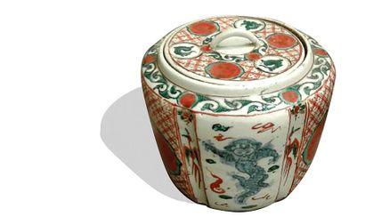 JAPON : Pot couvert de forme cylindrique...
