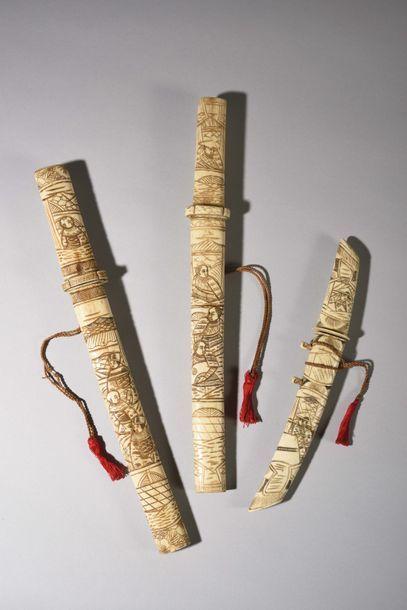 JAPON : trois petits sabres fabriqués pour...