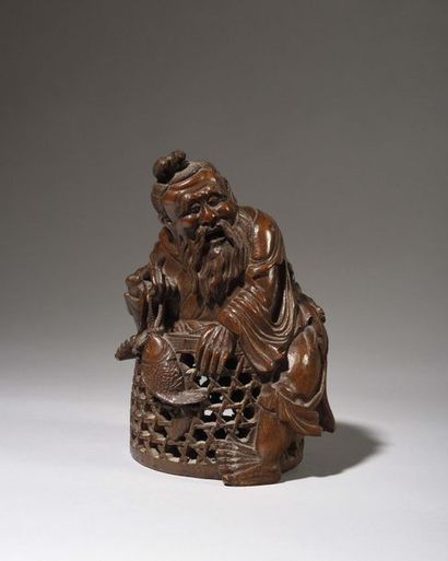 CHINE : Figurine en bambou sculpté représentant...