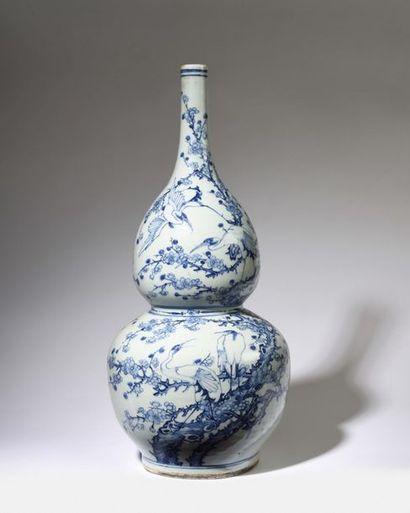 CHINE Important et beau vase double gourde...