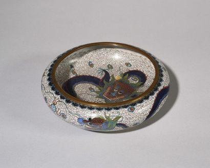 CHINE Coupe circulaire en bronze cloisonné...