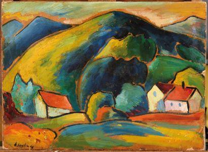 Alexej VON JAWLENSKY (1864-1941)  Vue de Murnau  Huile sur carton  1908 - 1910  39,5...