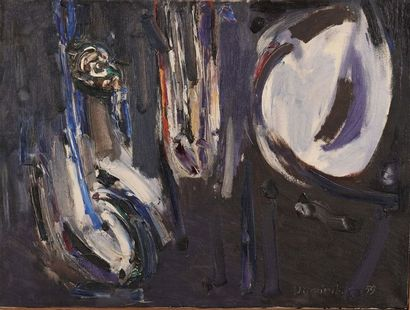 DOMINIK Tadeusz (1928 – 2014)  Paire de compositions abstraites  Huile sur toile...