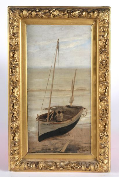 Edouard Joseph DANTAN (1848-1897). Voilier...