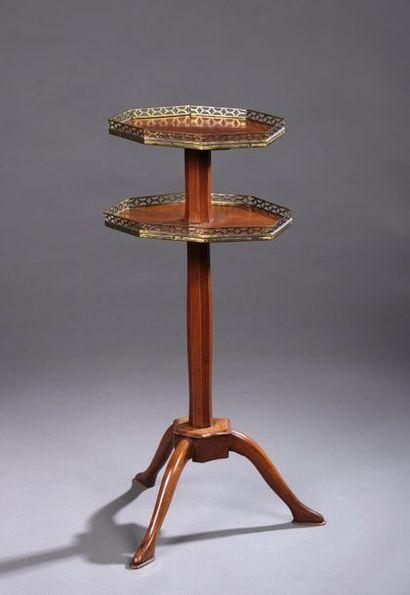 Petite table à thé en bois exotique à deux...