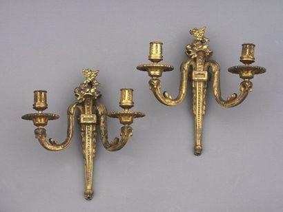 Paire d'appliques en bronze ciselé et doré....