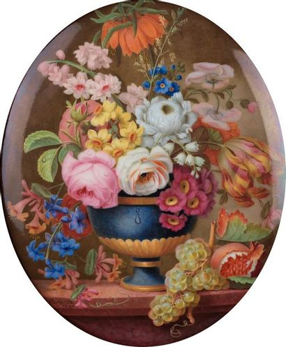 Philippe PARPETTE (Chantilly, 1738 - Sèvres, 1806). Bouquet de fleurs, pampres et...