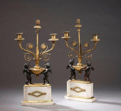 Paire de candélabres en marbre blanc et bronze...