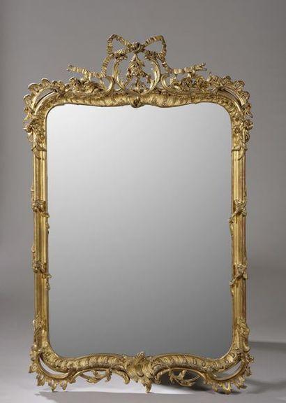 Miroir rectangulaire en bois et composition...